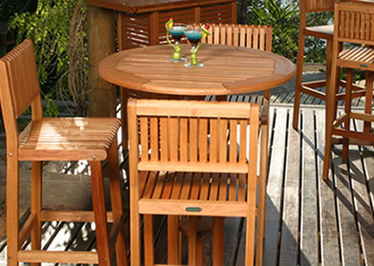 Outdoor Wood Bar Height Table U0026 Bar Stools