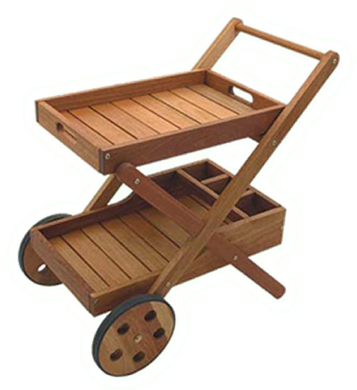 Eucalyptus Wood Bar Trolley with Wheels
