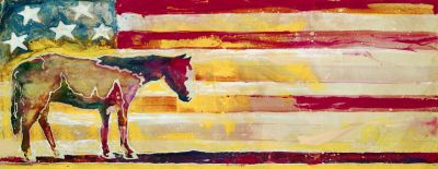 Horse-Red White & Blue Outdoor Art 44x16