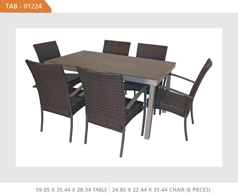 Outdoor Wicker Square Dining Set with 6 Chairs
