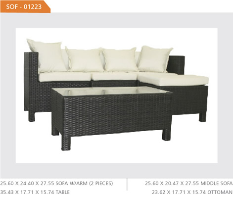 Outdoor Wicker Lounger Ottoman and Table