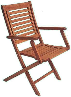 Eucalyptus Wood Folding Chair With Arms